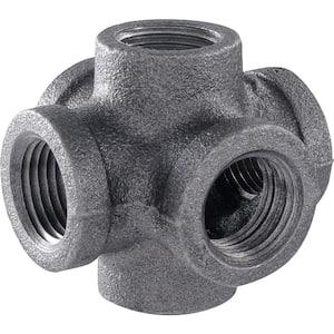 1/2 in. 6-Way Black Iron Cross Double Outlet Industrial Steel Grey