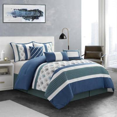 7-Piece Blue Patchwork Polyester Queen Comforter Set Luxury Bed in a Bag