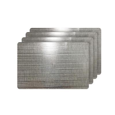 Emery Gray Metallic Reversible Rectangular Placemats (Set of 4)