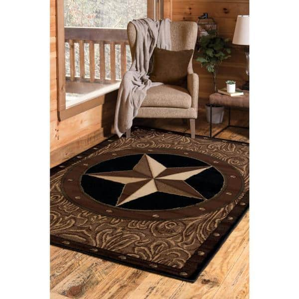 United Weavers Ranch Star Beige Black 5 Ft X 7 Ft Area Rug 910 04950 58 The Home Depot