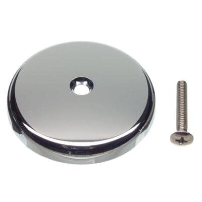 Single Hole Bathtub Drain Overflow Plate with Screw in Chrome