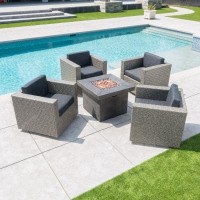 Puerta Mixed Black 4-Piece Wicker Patio Fire Pit Seating Set with Dark Gray Water Resistant Cushions