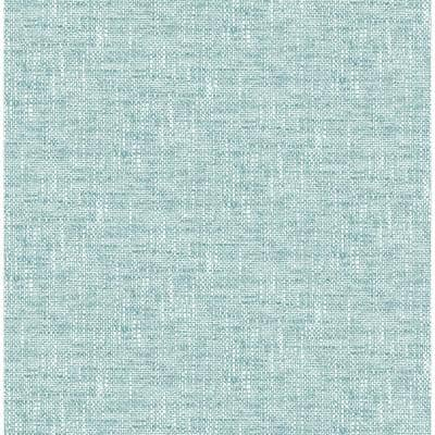Aqua Poplin Texture Vinyl Peel & Stick Wallpaper Roll (Covers 30.75 Sq. Ft.)