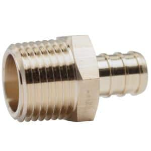 1/2 in. PEX Barb x MIP Lead Free Brass Adapter Fitting (20-Pack)