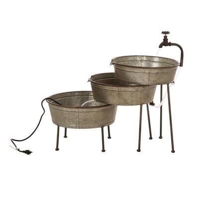 30 in. L Farmhouse Galvanized Metal Fountain
