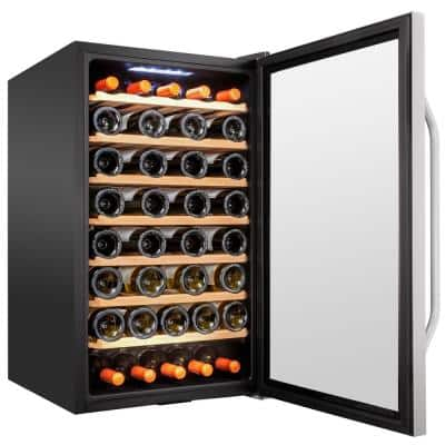19.5 in. 51-Bottle Compressor Freestanding Wine and Beverage Cooler - Stainless Steel