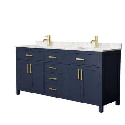 Beckett 72 in. W x 22 in. D Double Vanity in Dark Blue with Cultured Marble Vanity Top in Carrara with White Basins