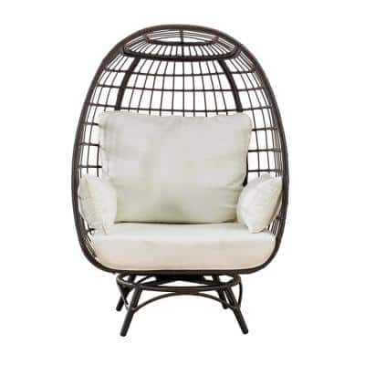Dru Brown Swivel Wicker Egg Cuddle Outdoor Lounge Chair