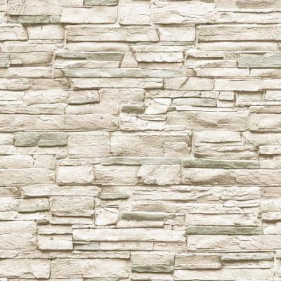 Light Stone Ivory Peel and Stick Wallpaper (Covers 56 Sq. Ft.)