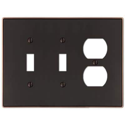 Ansley 3 Gang 2-Toggle and 1-Duplex Metal Wall Plate - Aged Bronze
