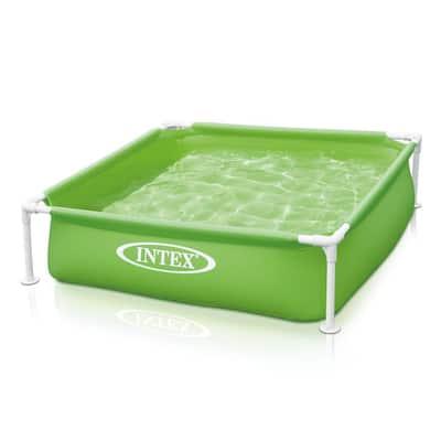 4 ft. x 4 ft. 12 in. D Green Mini Frame Kids Beginner Kiddie Swimming Pool