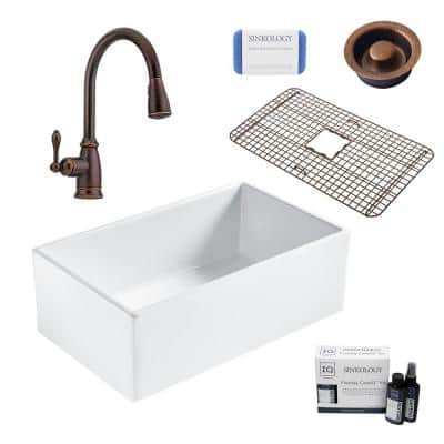 Bradstreet II All-in-One Farmhouse Fireclay 30 in. Single Bowl Kitchen Sink with Rustic Bronze Faucet and Disposal Drain