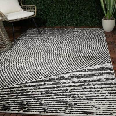 Sartre White 8 ft. x 10 ft. Abstract Area Rug