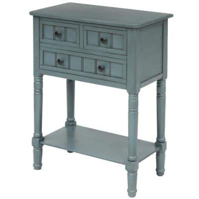23.7 in. L Navy Narrow Console Table with 3-Storage Drawers and Bottom Shelf