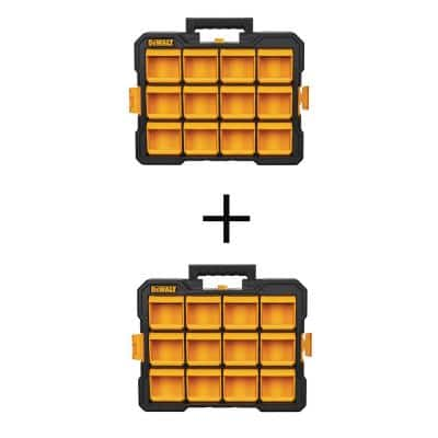 12-Compartment Small Parts Organizer Flip Bin (2-Pack)