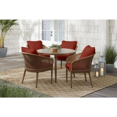 Coral Vista 5-Piece Brown Wicker and Steel Outdoor Patio Dining Set with Sunbrella Henna Red Cushions