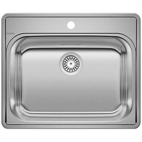 Blanco Essential 22 In X 12 Drop Stainless Steel 1 Hole Single Bowl Kitchen Sink Brushed Satin 441078 The Home Depot