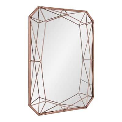 Medium Rectangle Rose Gold Art Deco Mirror (28 in. H x 22 in. W)