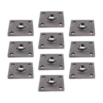 1/2 in. Black Iron Square Flange Fitting (10-Pack)