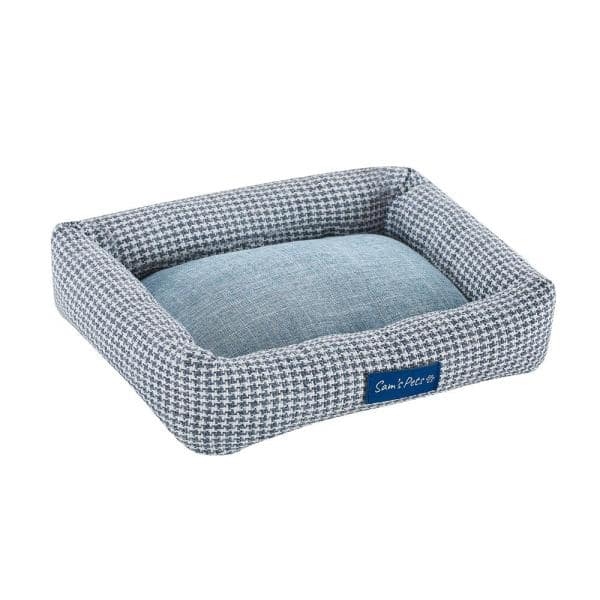 Sam S Pets Arlo Small Blue Plaid Bolster Dog Bed Sp Db1211bl The Home Depot