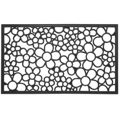 Wrought Iron Collection Black Floral 30 in. x 18 in. Rubber Outdoor/Indoor Door Mat