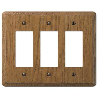 Contemporary 3 Gang Rocker Wood Wall Plate - Medium Oak