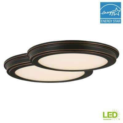 13 in. Oil Rubbed Bronze LED Ceiling Flush Mount with White Acrylic Shade (2-Pack)