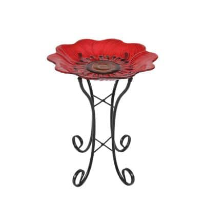 Red Pansy Glass Bird Bath with Metal Stand