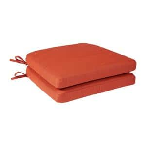 Spring Haven 18 x 18 Outdoor Dining Chair Replacement Cushion in Orange (2-Pack)