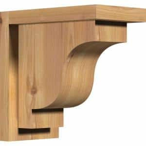5-1/2 in. x 10 in. x 10 in. Western Red Cedar Newport Smooth Corbel with Backplate
