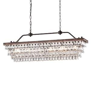 Chiara 6-Light Antique Bronze Rectangular Chandelier with Crystal hanging