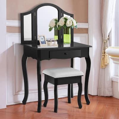 2-Piece Black Tri Folding Mirror Vanity Makeup Table Set Bathroom with Stool and Drawer Bedroom Set