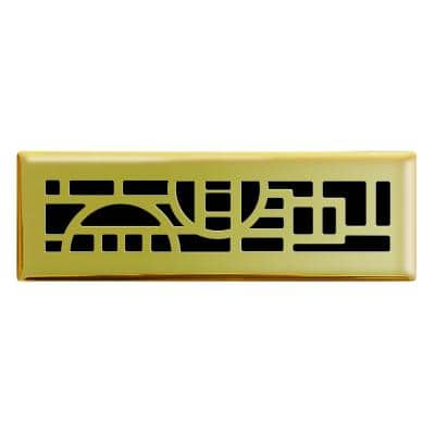 2 in. x 10 in. Cosmopolitan Floor Register in Polished Brass
