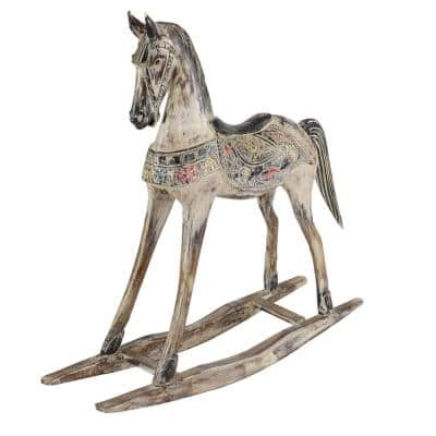 Handmade Vintage Beige and Black Wooden Rocking Horse with Ornamental Red and Yellow Saddle