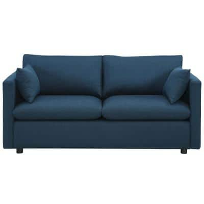 Activate 70 in. Azure Polyester 3-Seater Tuxedo Sofa with Square Arms