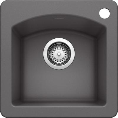 DIAMOND SILGRANIT Granite Composite 15 in. 1-Hole Dual Mount Bar Sink in Cinder