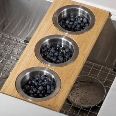 16.75 in. Workstation Kitchen Sink Composite Serving Board Set with Round Stainless Steel Bowls