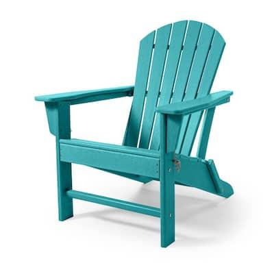 Blue Folding Plastic Outdoor Patio Adirondack Chair