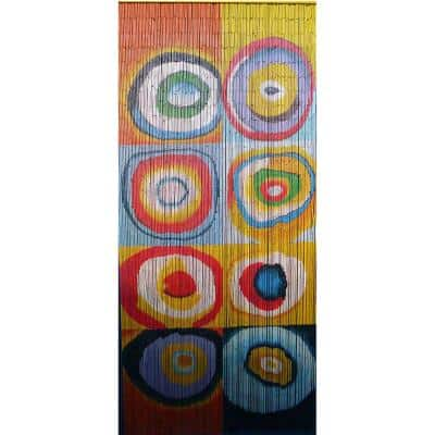 Multi Color Circle Print Beaded Bamboo Curtain
