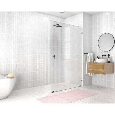 48 in. x 78 in. Frameless Fixed Shower Door in Matte Black without Handle