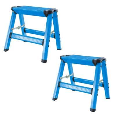 1-Step Aluminum Folding Stool with 325 lbs. Load Capacity in Neon Blue (2-Pack)
