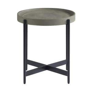 Brookline 20 in. Gray Round Wood with Concrete-Coating End Table