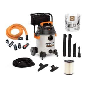 16 Gal. 6.5-Peak HP Stainless Steel Wet/Dry Shop Vac with Filter, 7 ft. Hose, 10 ft. Pro Hose and Accessories