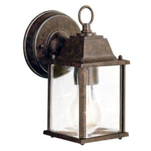 Barrie 8.5 in. 1-Light Tannery Bronze Outdoor Wall Mount Sconce with Clear Beveled Glass
