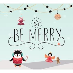 7 ft. x 8 ft. Merry Penguins-Christmas Garage Door Decor Mural for Split Car Garage