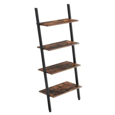 59.1 in. Brown/Black Metal 4-shelf Ladder Bookcase with Open Back