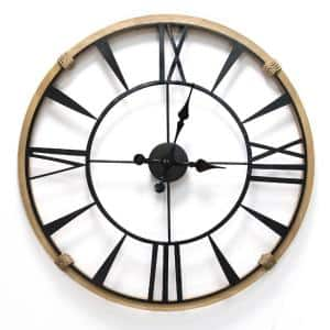 29.5'' Round Metal & Wood Frame Columbus / Wall Clock