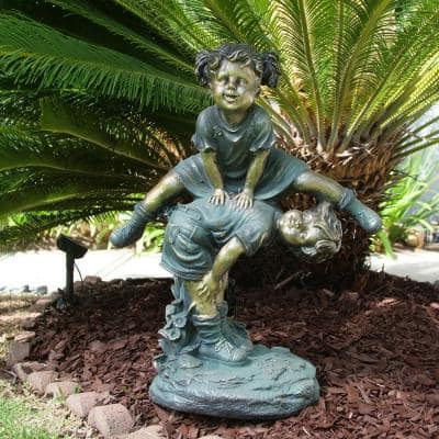 26 in. Tall Indoor/Outdoor Girl Jumping Over Boy Statue Yard Art Decoration