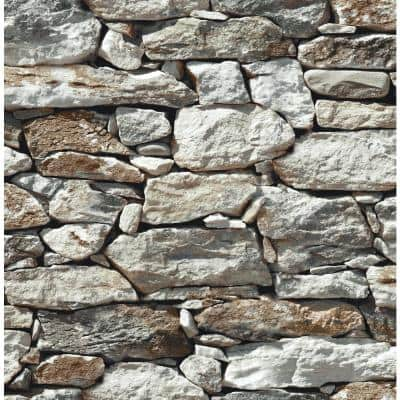 Stone Wall Grey And Taupe Brick Vinyl Peel & Stick Wallpaper Roll (Covers 30.75 Sq. Ft.)