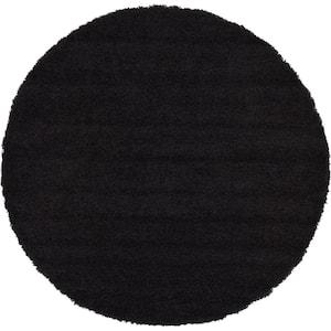 Solid Shag Jet Black 6 ft. Round Area Rug